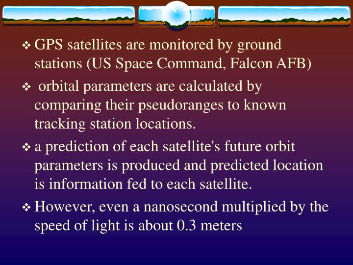 GPS satellites are monitored by ground stations (US Space Command, Falcon AFB)
