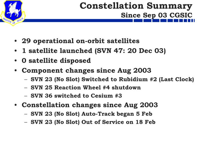 Constellation Summary