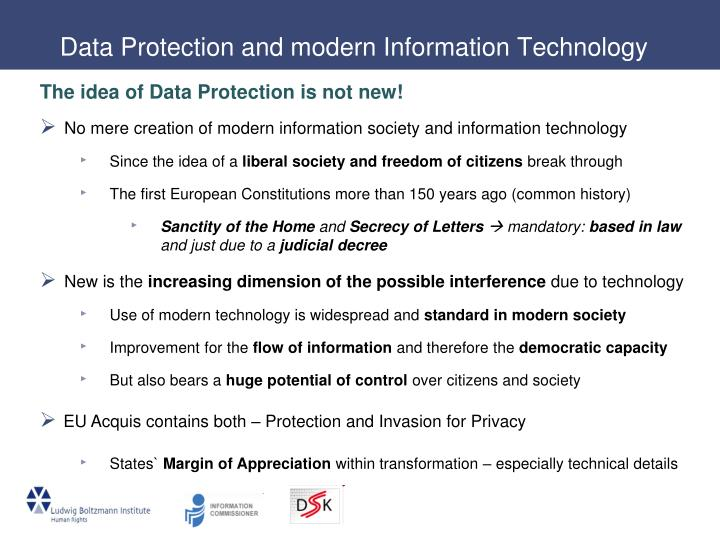 Data Protection and modern Information Technology