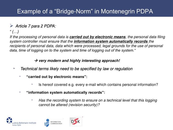 "Example of a ""Bridge-Norm"" in Montenegrin PDPA"