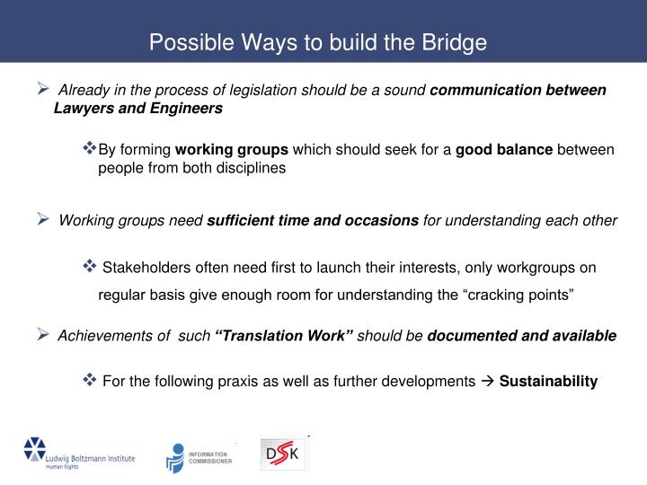 Possible Ways to build the Bridge