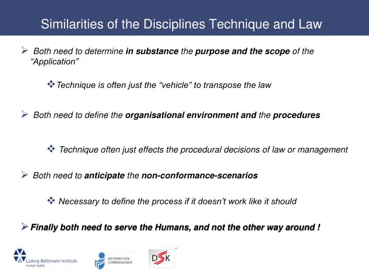 Similarities of the Disciplines Technique and Law