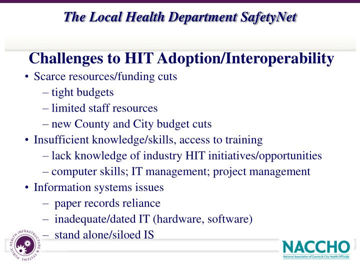 Challenges to HIT Adoption/Interoperability