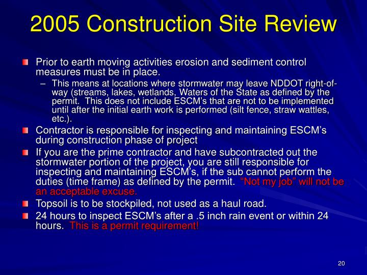 2005 Construction Site Review