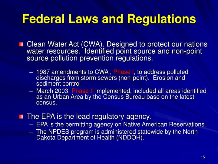 Federal Laws and Regulations