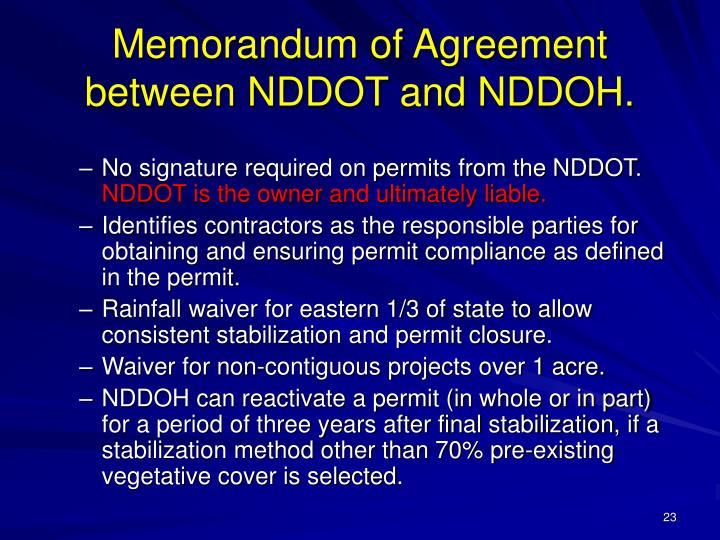 Memorandum of Agreement between NDDOT and NDDOH.