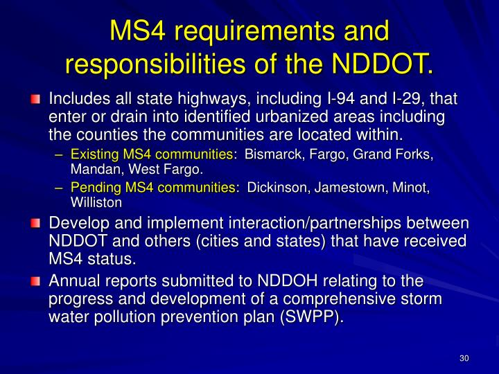 MS4 requirements and responsibilities of the NDDOT.
