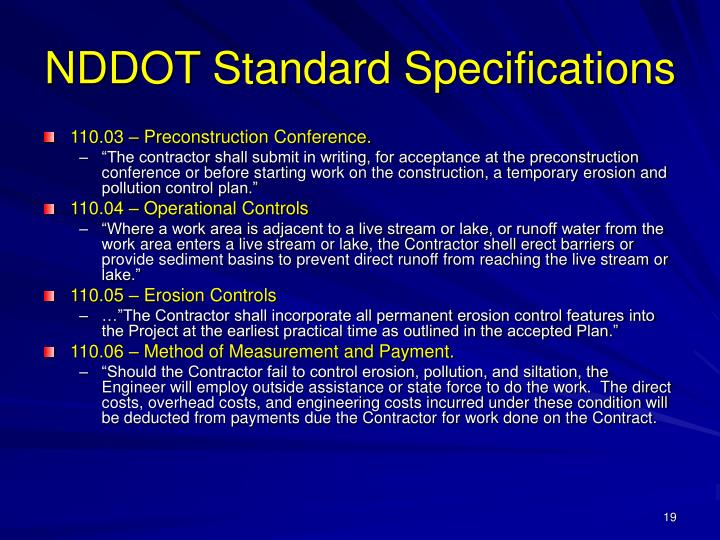 NDDOT Standard Specifications