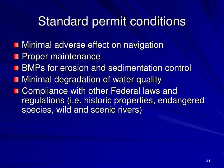 Standard permit conditions