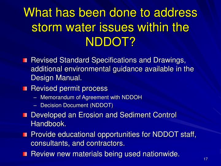 What has been done to address storm water issues within the NDDOT?