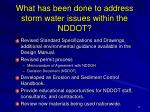 what has been done to address storm water issues within the nddot