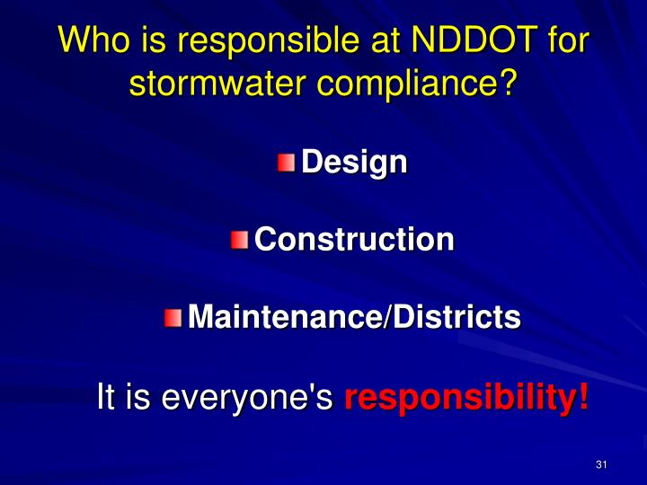 Who is responsible at NDDOT for stormwater compliance?