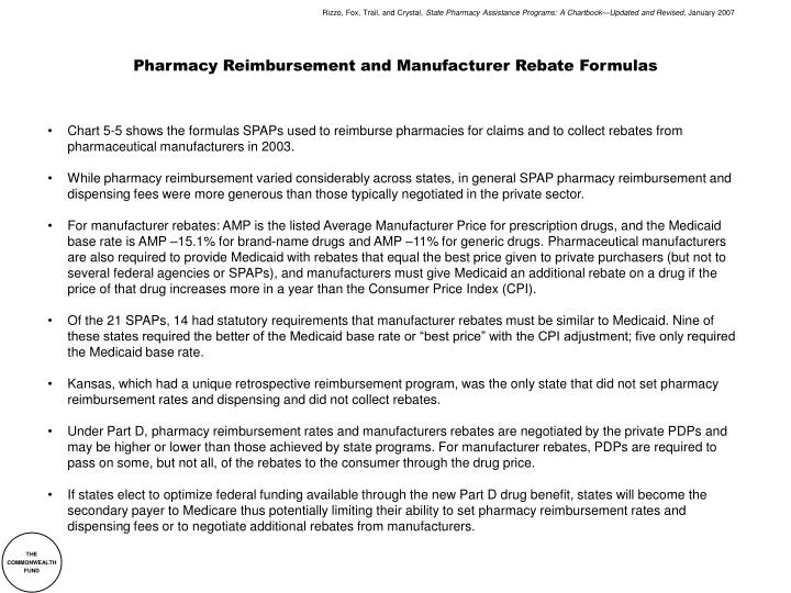 pharmacy reimbursement and manufacturer rebate formulas