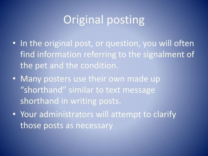 Original posting