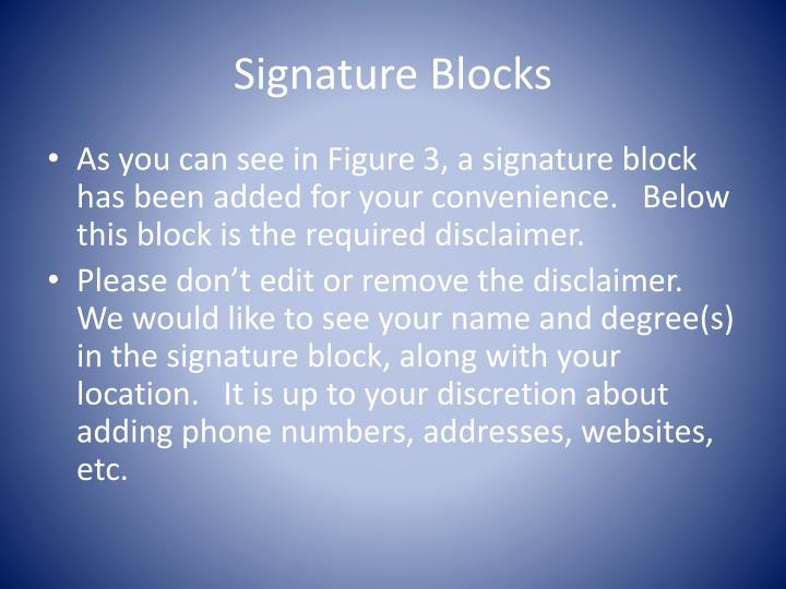 Signature Blocks