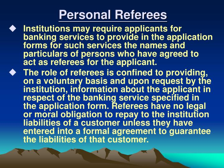 Personal Referees