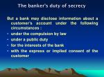 the banker s duty of secrecy1