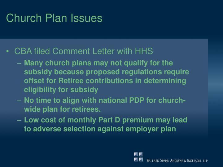 Church Plan Issues