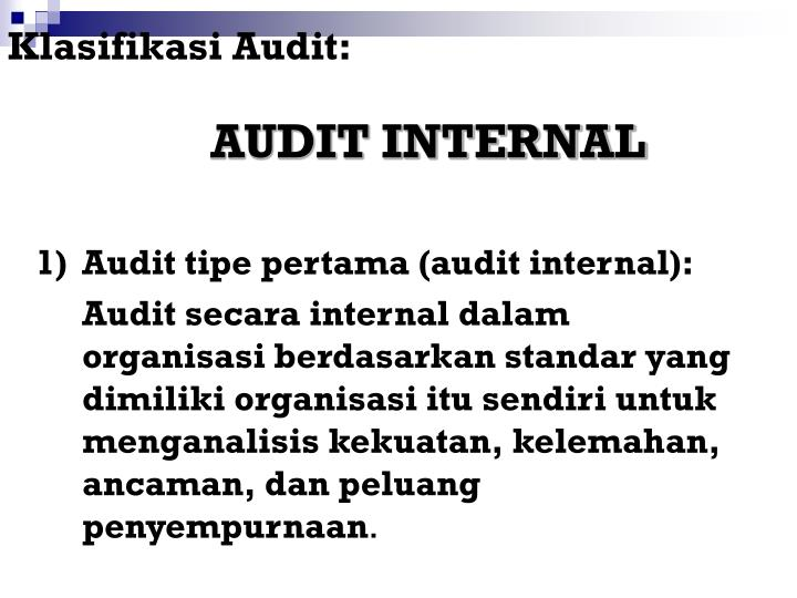 Klasifikasi Audit:
