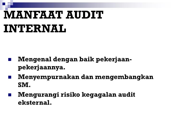 MANFAAT AUDIT INTERNAL