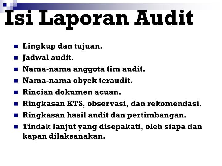 Isi Laporan Audit