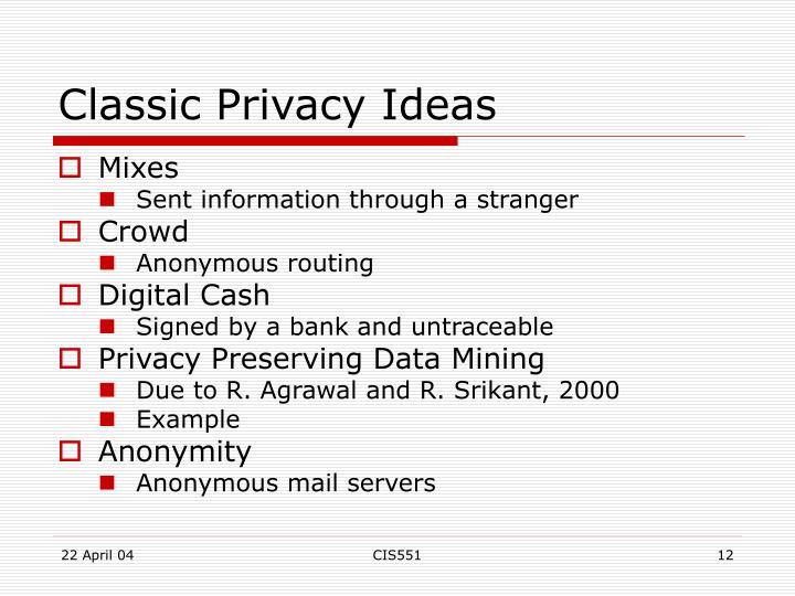 Classic Privacy Ideas