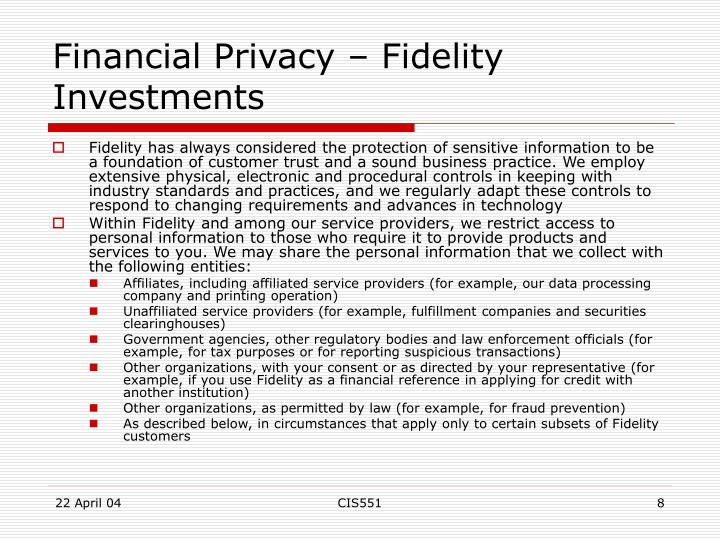 Financial Privacy – Fidelity Investments
