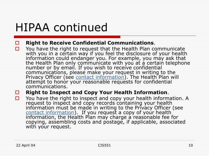 HIPAA continued