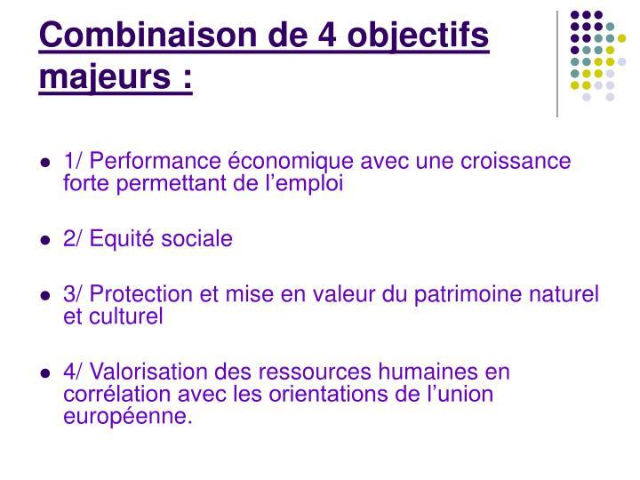 Combinaison de 4 objectifs majeurs: