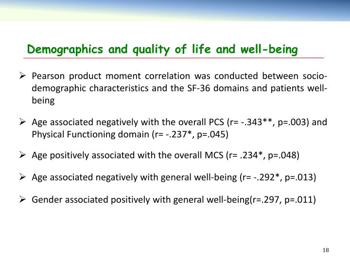 Demographics and quality of life and well-being