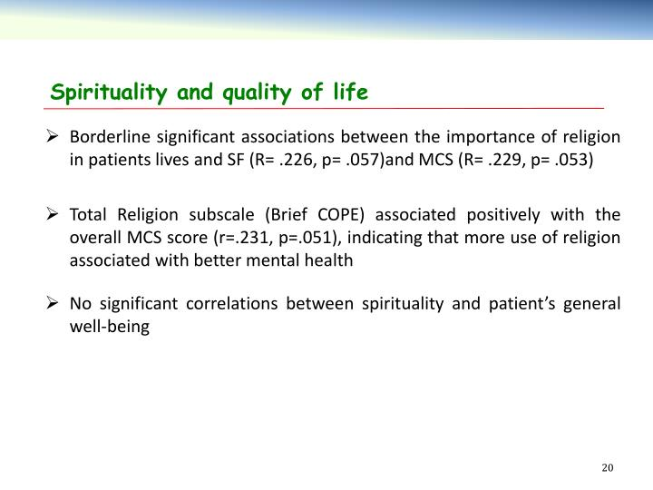 Spirituality and quality of life