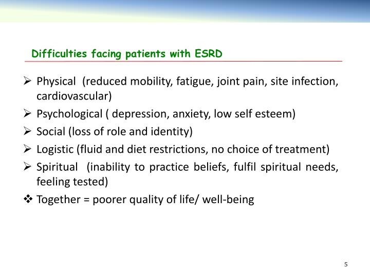 Difficulties facing patients with ESRD