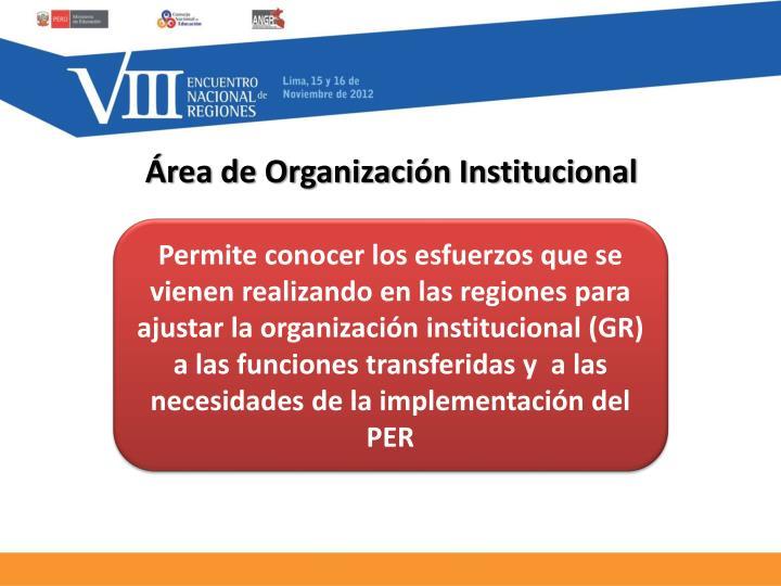 Área de Organización Institucional