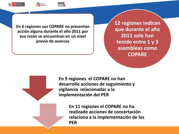 En 9 regiones  el COPARE no han desarrollo acciones de seguimiento y vigilancia  relacionadas a la implementación del PER