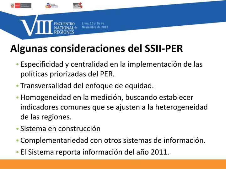 Algunas consideraciones del SSII-PER