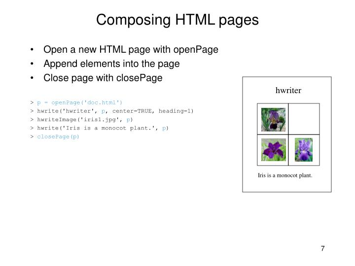 Composing HTML pages