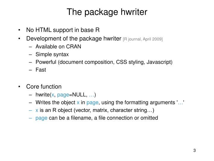 The package hwriter