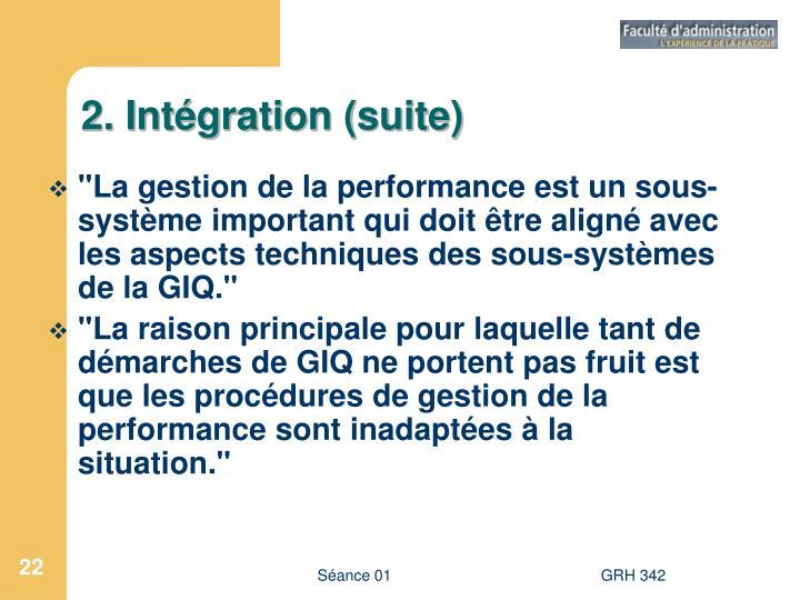 2. Intégration (suite)