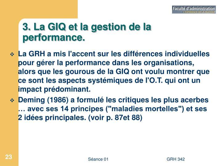 3. La GIQ et la gestion de la performance.