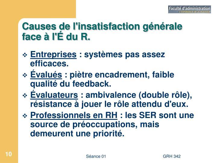 Causes de l'insatisfaction générale face à l'É du R.