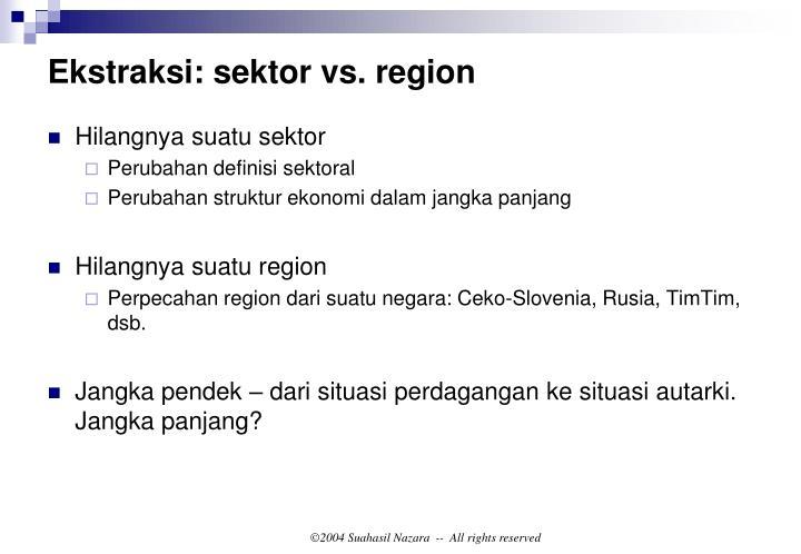 Ekstraksi: sektor vs. region