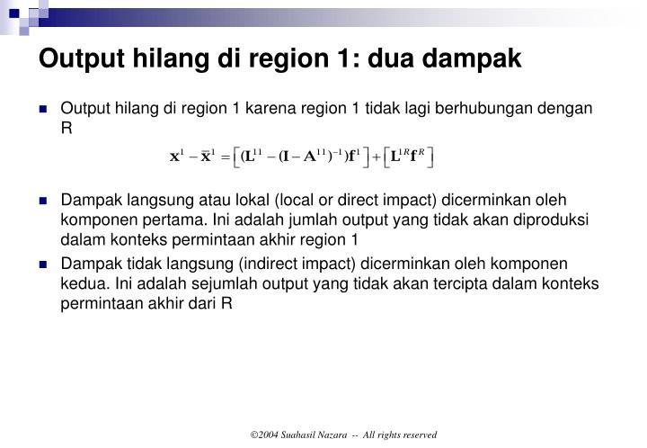Output hilang di region 1: dua dampak