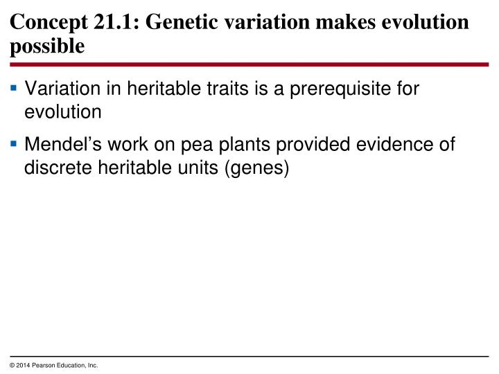 Variation in heritable traits is a prerequisite for evolution