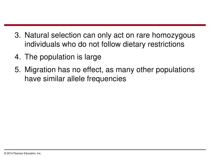 Natural selection can only act on rare homozygous individuals who do not follow dietary restrictions