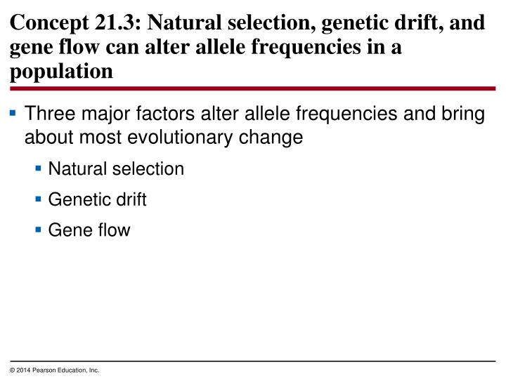 Three major factors alter allele frequencies and bring about most evolutionary change