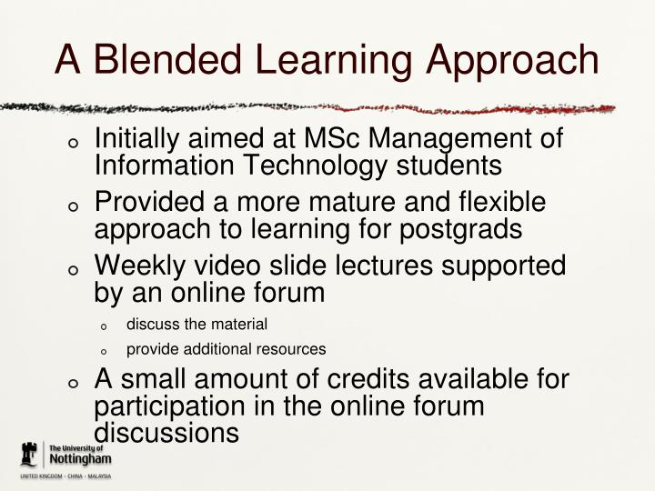 A Blended Learning Approach