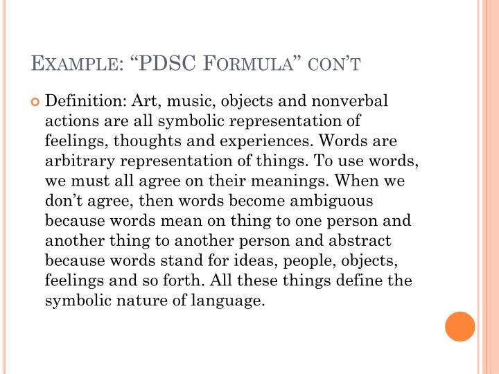 "Example: ""PDSC Formula"""