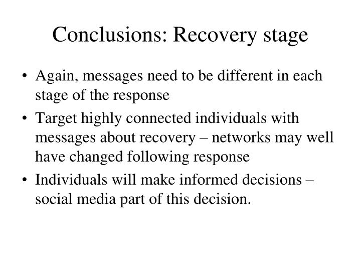 Conclusions: Recovery stage