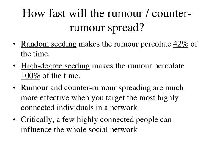 How fast will the rumour / counter-rumour spread?