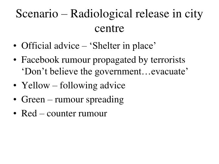Scenario – Radiological release in city centre